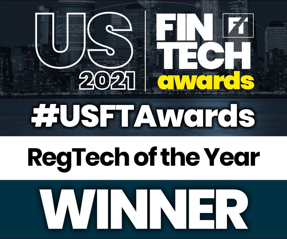 US Fintech Awards 2021 Winner block solid Reg Tech